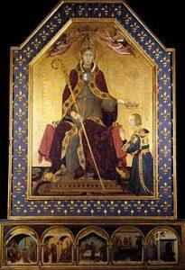 San Ludovico di Tolosa incorona il fratello minore Roberto d'Angiò, 1317 (Simone Martini)